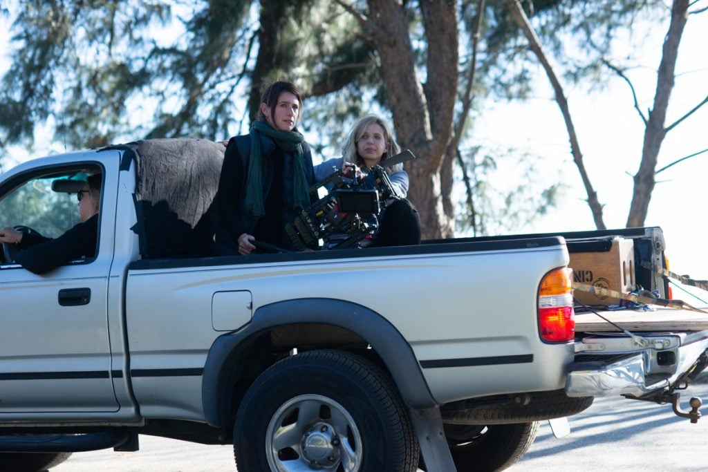 Driver Chelsey Bawot, Cinematographer Stephanie Martin, ADF and First Assistant Camera Julia Pasternak ready to roll.
