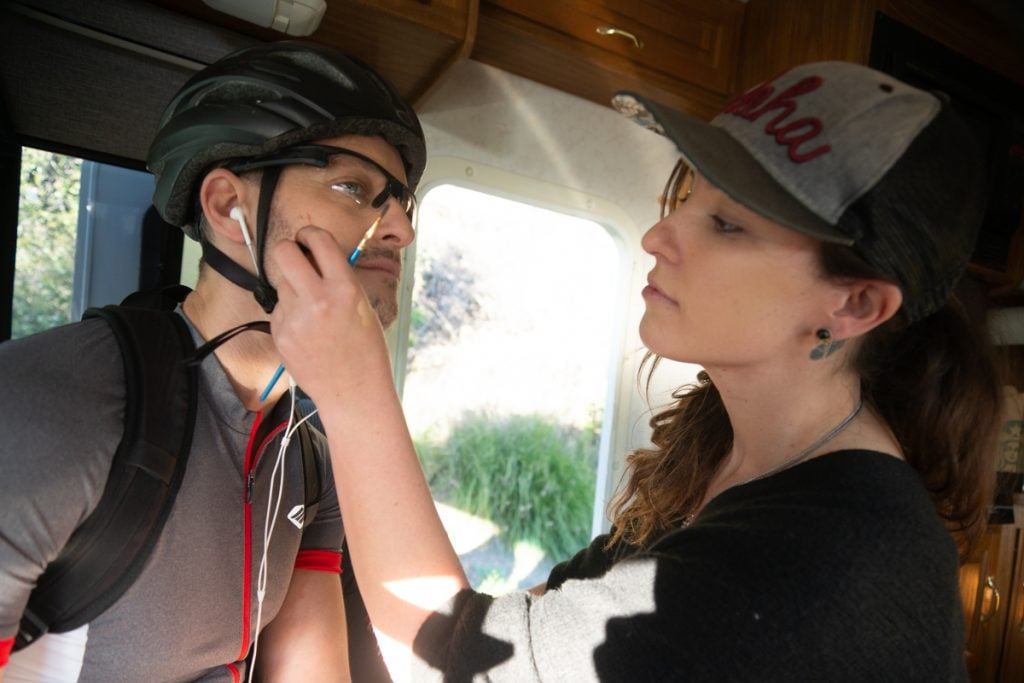 Hair and Make Up Allie Shehorn doing final touches before the final shot of the day.