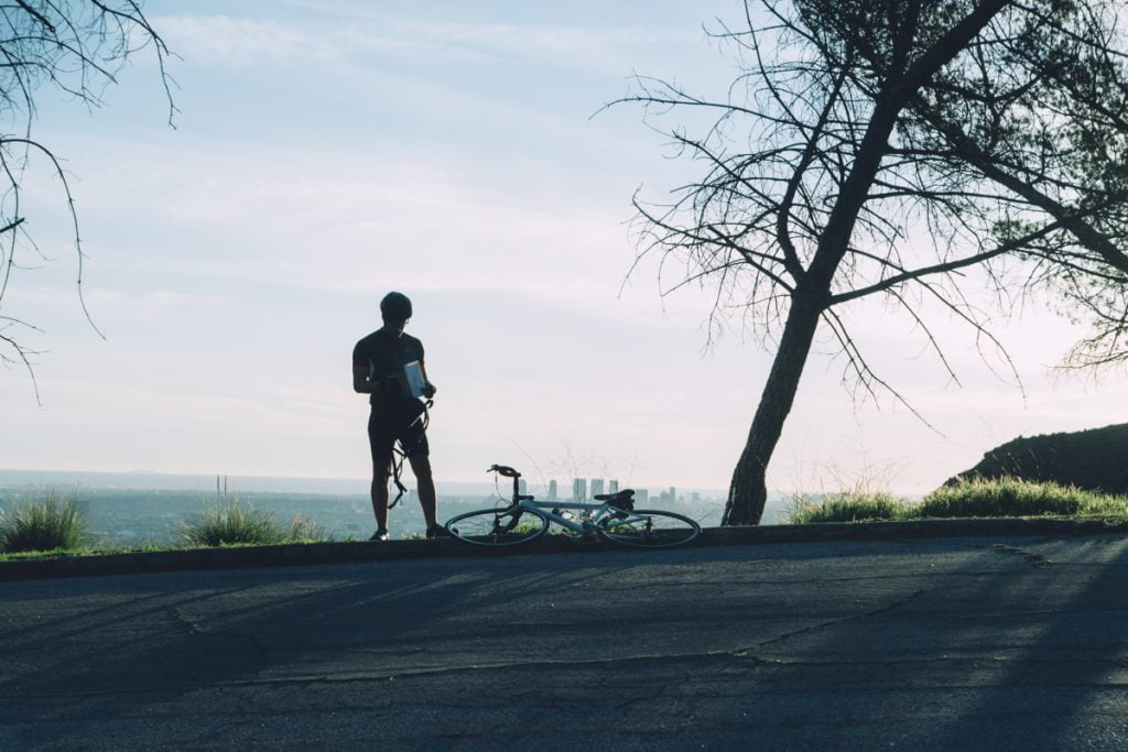 Wide shot of the lead actor in Griffith Park, Los Angeles, CA