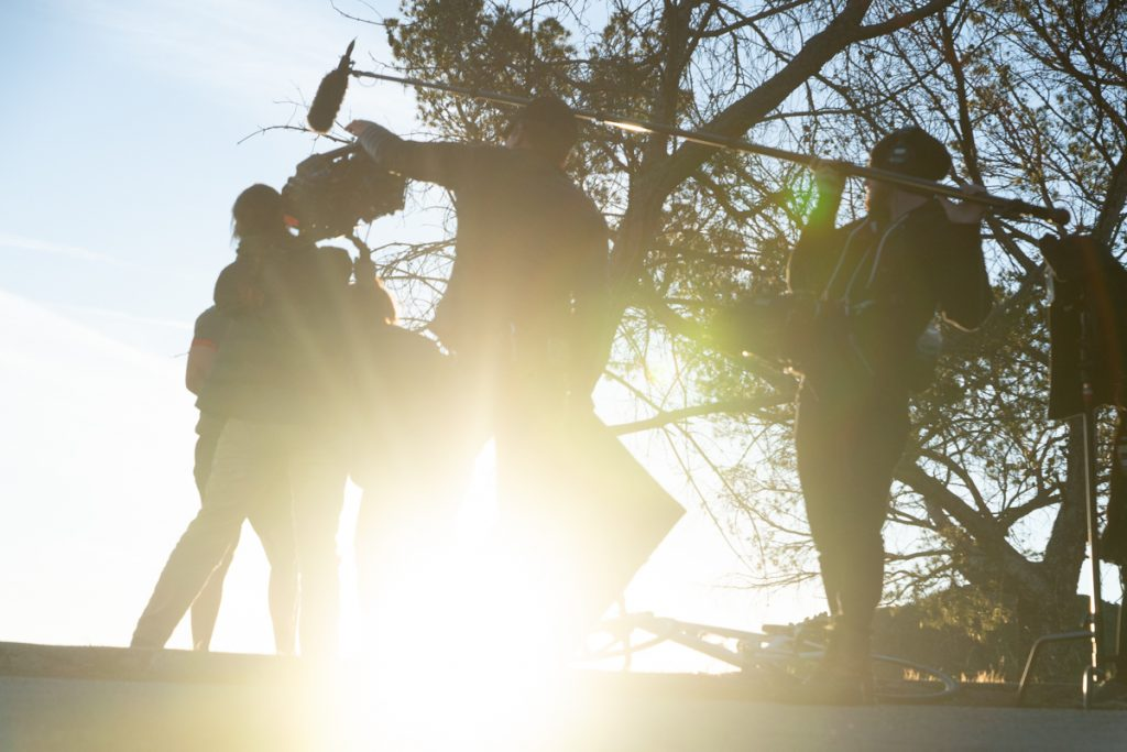 The crew chasing the light in Griffith Park in Los Angeles, California.