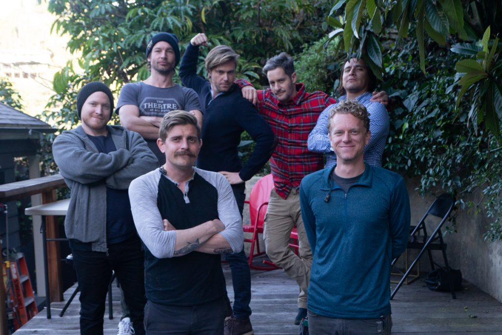 The men on the crew. From left to right, top row: Ryan Brennan Fee, Jackson Davis, Brant Rotnem, Jeremy Glazer, Frank Paulino. Bottom row: Mitchell Ebert, Aaron Burton.