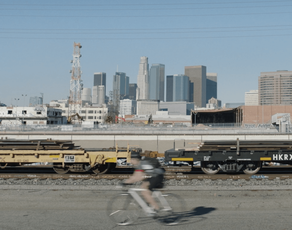 Production Still in biking scene near downtown Los Angeles, California.